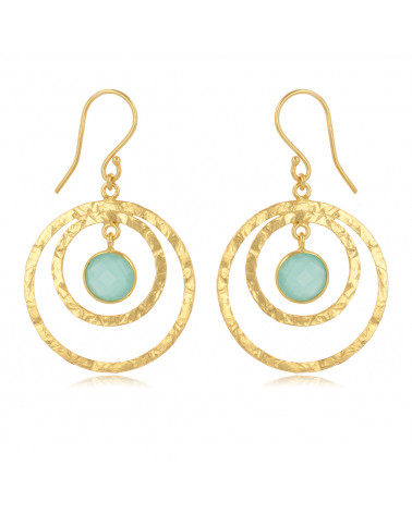 Creole calcedoine earrings, setting fine gold plated on 925 sterling silver