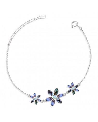 925 Sterling Silber Armband Abalone Blumen
