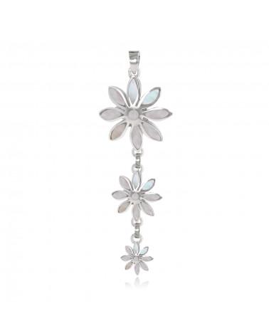 925 Sterling Silber Anhänger Weiße Muschel 3 Blumen