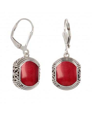 925 Sterling Silber Koralle ethnische Ohrringe
