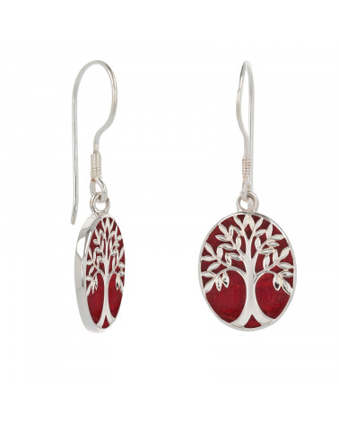 Corallo rosso 925 Simbolo in argento sterling Albero della vita Orecchini