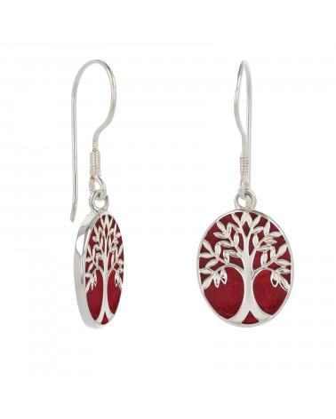 Rote Koralle 925 Sterling Silber Symbol Baum des Lebens Ohrringe