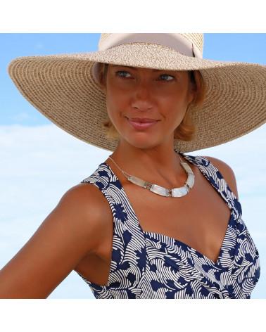 Joyas de regalo 3 cabujones Pendientes largos Nácar blanco Plata de ley forma oval de plata maciza mujer