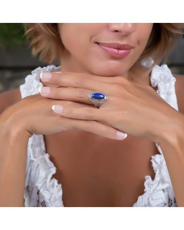 Geschenkidee Mom-Ring-Lapis Lazuli Stone-Sterling Silber-Frau-