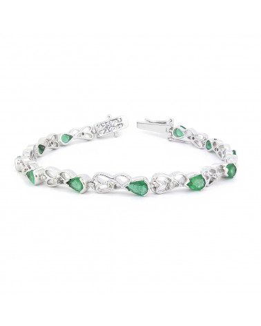 925 Sterlingsilber Smaragd Diamanten Armbund