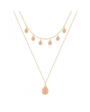 Collana turchese Sfaccettato forma a pera Placcato oro