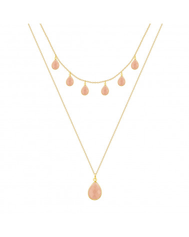 Gold Plated 925 Sterling Silver faceted rose quartz pear shape Necklace