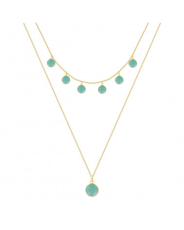 Gold Plated 925 Sterling Silver faceted Amazonite round shape Necklace
