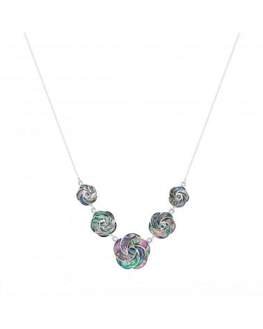 925 Sterlingsilber Perlmutt Abalone Blumen Halskette