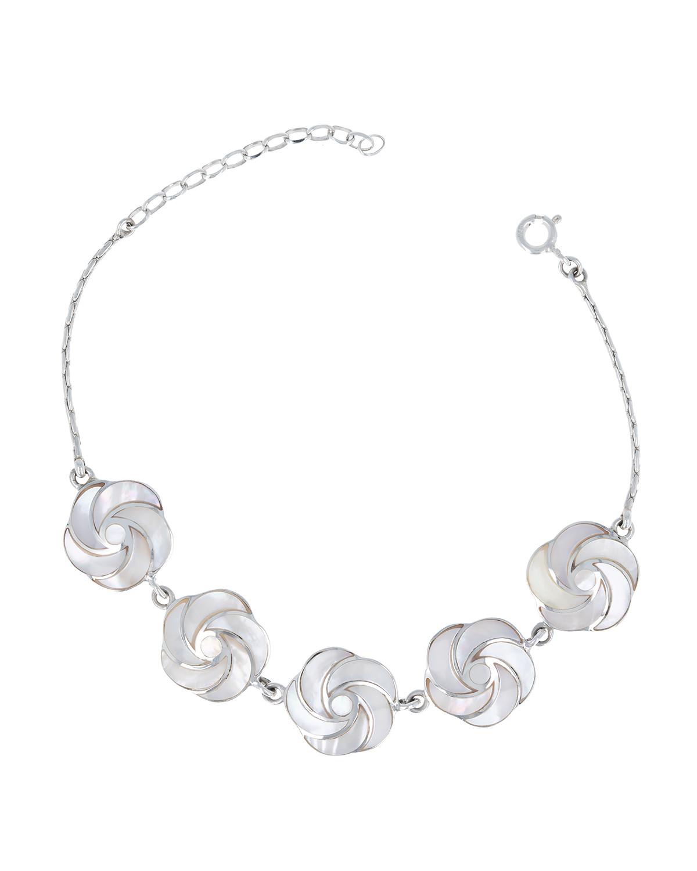 Bracelet en fleur de nacre blanche effet spirale sur chaîne argent 925