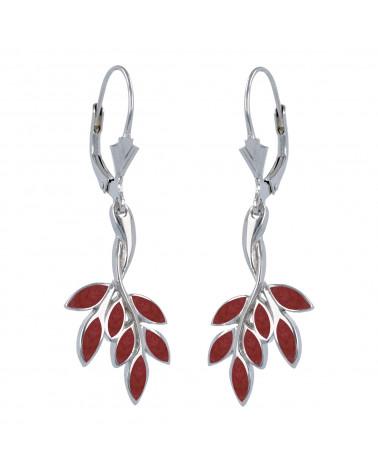 Aden's Jewels - Boucles d'oreille femme – Corail et Argent – Femme – Rouge -Dimension: 40mm x 15mm x 1mm