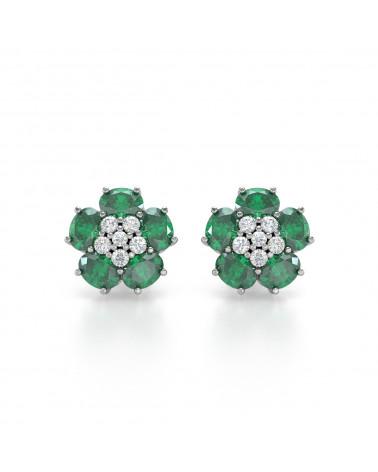 Orecchini in Smeraldo Diamanti Argento 925