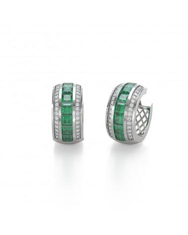 Pendientes Esmeralda y Diamantes Plate de Ley 925