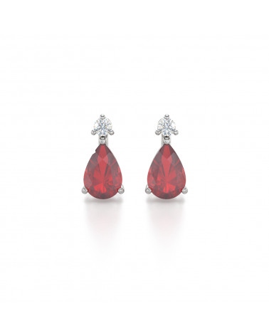 Pendientes Rubi y Diamantes Plate de Ley 925