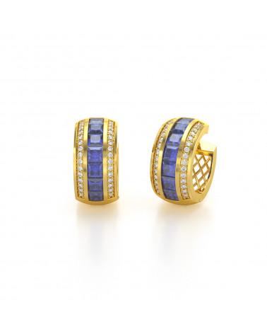 Pendientes  de Oro Tanzanita y Diamantes