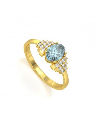 Anelli Oro Acquamarina diamanti