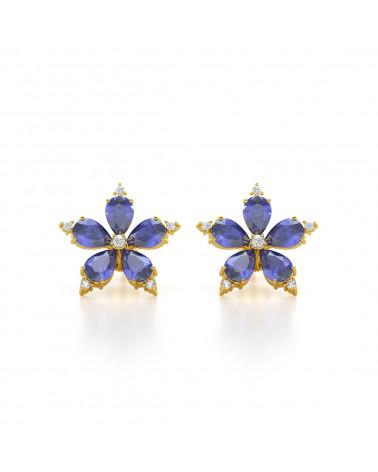 Orecchini in Oro Tanzanite Diamanti