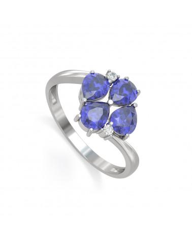 Anillo Tanzanita y diamantes Plata de Ley 925