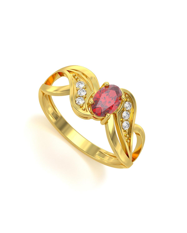 Anelli Oro Rubino diamanti 2.09grs