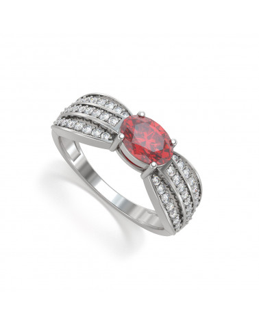 Anelli Zaffiro diamanti Argento 925 2.89grs