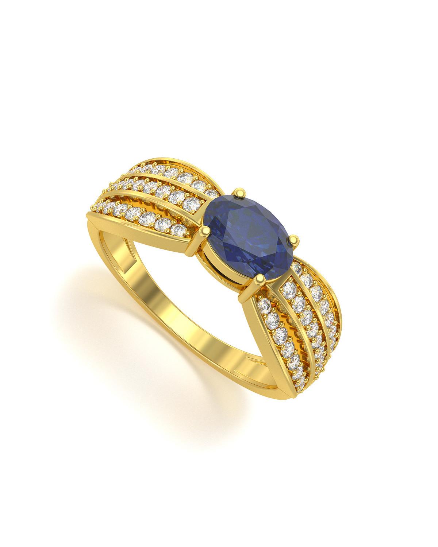 Anillo de Oro Zafiro y diamantes 2.89grs