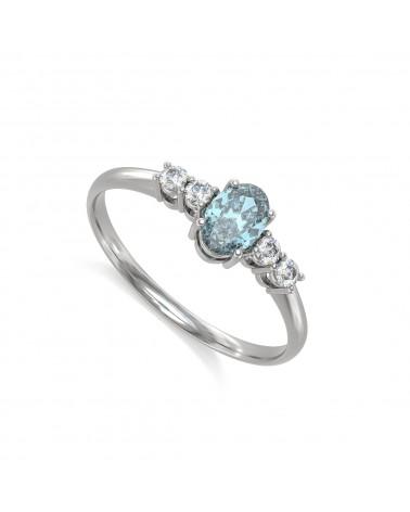 Anillo Aguamarina y diamantes Plata de Ley 925 2.89grs