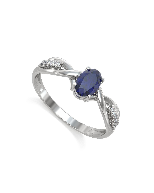 925 Sterlingsilber Saphhire und 4 Diamonds Ringe