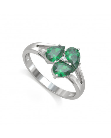 Anelli Smeraldo diamanti Argento 925