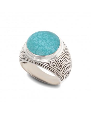 Handgemachter Herren Designer Ring-Schwarzer Onyx Cabochon-Sterling Silber im Alter von Effekt-Biker-Ring