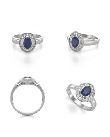 Anillo Zafiro y diamantes Plata de Ley 925