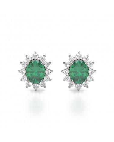 Orecchini in Smeraldo Diamanti Argento 925 ADEN - 1