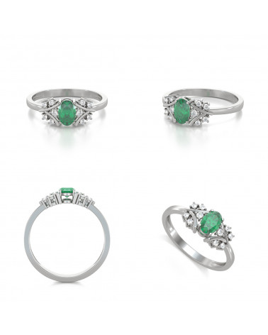 Anelli Oro Smeraldo diamanti 1.556grs ADEN - 2