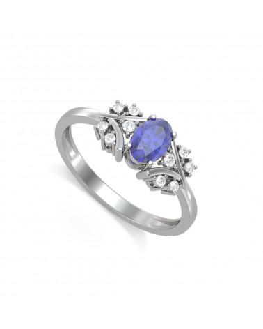 Anillo de Oro Tanzanita y diamantes 1.556grs ADEN - 1