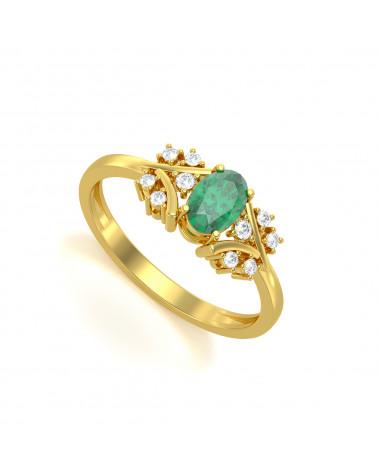 Anillo de Oro Esmeraldas y diamantes 1.556grs ADEN - 1
