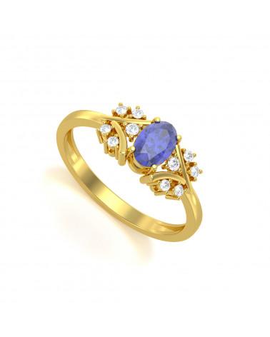 Anelli Oro Tanzanite diamanti 1.556grs ADEN - 1