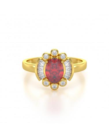Anillo de Oro Rubi y diamantes ADEN - 3