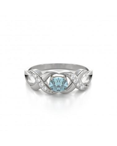 Anelli Oro Acquamarina diamanti 2.684grs ADEN - 3