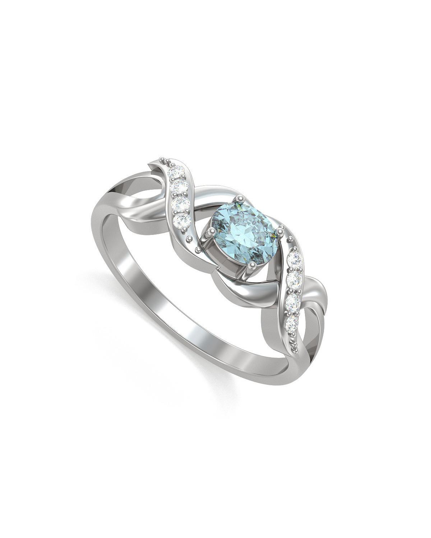 Anelli Oro Acquamarina diamanti 2.684grs