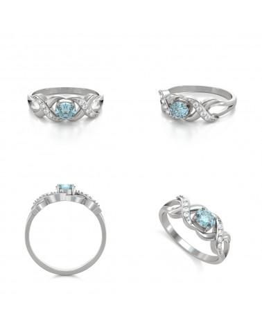 Anelli Oro Acquamarina diamanti 2.684grs ADEN - 2