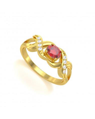 Anillo de Oro Rubi y diamantes 2.684grs ADEN - 1