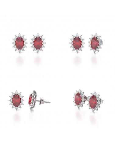 Orecchini in Rubino Diamanti Argento 925 ADEN - 2
