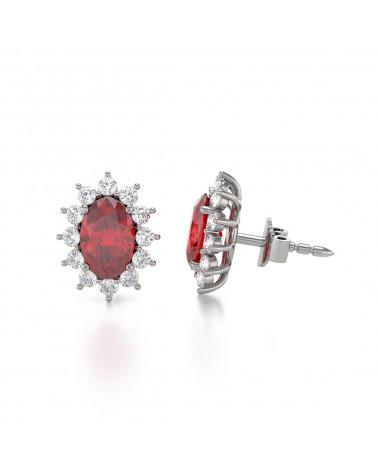 Orecchini in Rubino Diamanti Argento 925 ADEN - 4