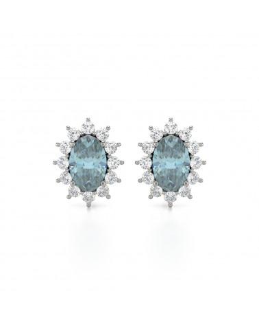 Orecchini in Acquamarina Diamanti Argento 925 ADEN - 1