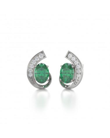 Pendientes  de Oro 14K Esmeralda y Diamantes ADEN - 3