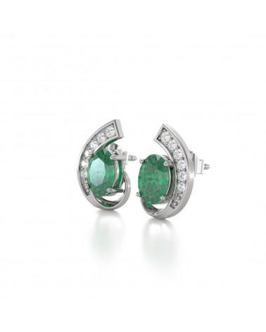 Pendientes  de Oro 14K Esmeralda y Diamantes ADEN - 4