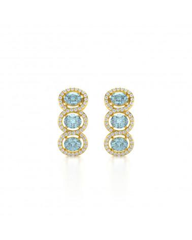 Orecchini in Oro 14K Acquamarina Diamanti ADEN - 1