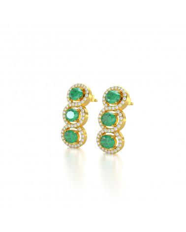 Orecchini in Oro 14K Smeraldo Diamanti ADEN - 4