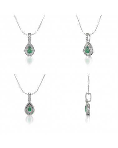 Collar Colgante de Oro 14K Esmeralda y Diamantes Cadena Oro incluida ADEN - 2