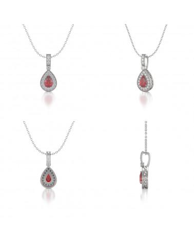 Collar Colgante Rubi y Diamantes Cadena Plata de Ley incluida ADEN - 2