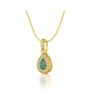 Collar Colgante de Oro 14K Esmeralda y Diamantes Cadena Oro incluida ADEN - 3